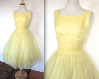 Vintage 1950's Dress // 50s Lemon Yellow Chiffon Party Prom Gown // April in Paris // DIVINE