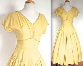 Vintage 1940's Dress // 40s 50s Lemon Yellow Linen Summer Party Dress // Skip To My Lou // DIVINE