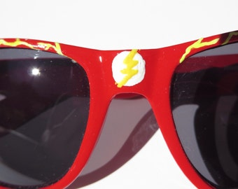 Barry Allen- Red The Flash Inspired Wayfarer Sunglasses With Yellow Lightnong Design