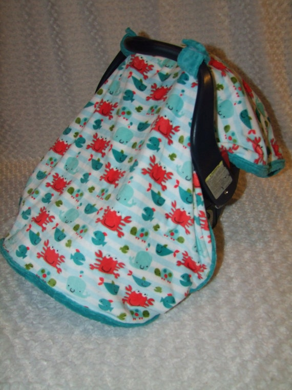 Car seat Canopy Blanket Sea Life MInky- Ships in 1-3 Days