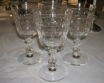 4 Vintage Bryce Crystal Water Goblets Pattern 942-2 Circa 1950's