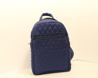"Backpack purse in quilted  Navy Blue 10"" x 7"" x 4"""