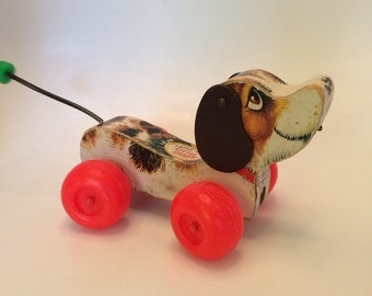 Fisher Price Little Snoopy wood dog pull toy 1968