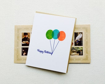 Bright Balloons Happy Birthday Card (Gocco printed)