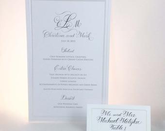 Wedding Menu Card and Place Card Sets