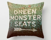 Green Monster Seats - Fenway Park - Boston Red Sox - Green Monster Pillow Case - Red Sox Decor - Baseball - Green Pillow - Home Decor