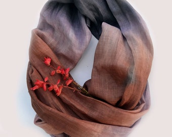 Oversized Dip-Dye Scarf - Pure Brown Lavender Linen Shawl - Long Linen Scarf - Fall Fashion Scarf - Fashion Accessories - Infinity Scarf