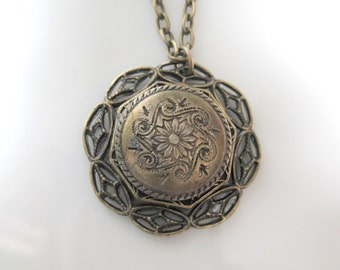 Vintage Button and Medallion Handmade Pendant Necklace Mixed Metals