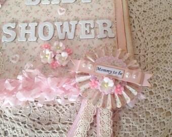 Baby Shower Rosette Badge ~Vintage Inspired Pretty Pinks