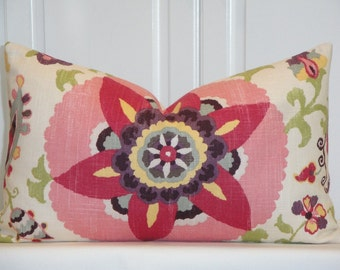Beautiful Decorative Pillow Cover - Floral - Pink - Red - Green - Blue - Plum - Suzani Pillow -