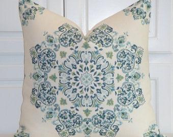 Kravet Decorative Pillow Cover - EURO Sham - Square Pillow - Accent Pillow - Teal - Aqua - Green - Suzani Floral - Toss Pillow