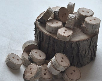 birch wood buttons set of 35
