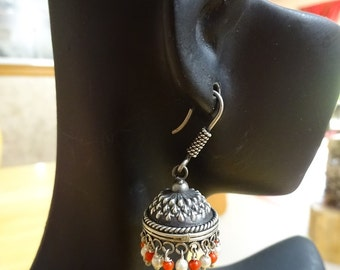 Jaipur Jhumkas-J419-Petite Jhumkas with Orange and Freshwater Pearls