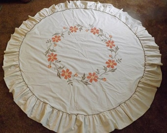 Round Tablecloth With Hand Embroidered Floral Design