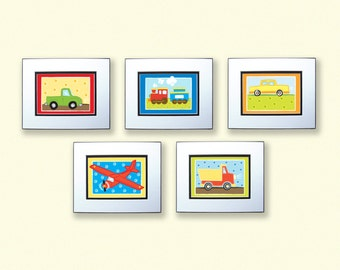 Boys Room Decor TRANSPORTATION ART, Set of 5 5x7 PRINTS