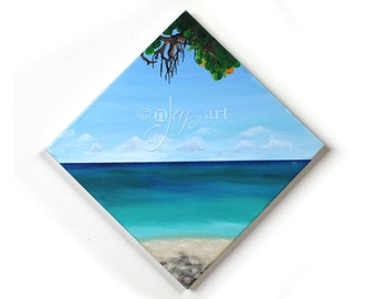 Shades of Beach, acrylic tropical beach painting, 12x12 inch canvas, art for home or office decor