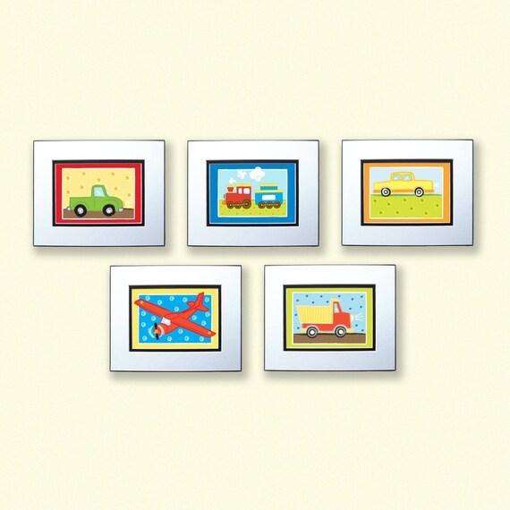 Boys room decor transportation art set of 5 5x7 prints for 5x7 room design