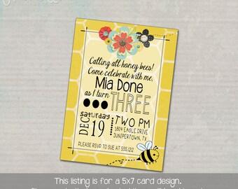 Sweet Honey Bee Birthday Party Invitation
