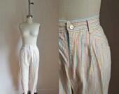 vintage 1980s cigarette pants - LEMON SIPPER candy striped skinny jeans / S