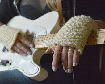 Ivory fingerless gloves wool knitted lace womens gloves musician arm warmers