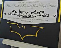 Pocket Wedding Invitation -- Batman Wedding Invitation -- Yellow and Black Wedding Invitation