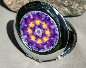 Pansy Compact Mirror Purse Mirror Boho Chic Mandala New Age Sacred Geometry Hippie Kaleidoscope Hippie Mod Unique Gift For Her Purple Prose