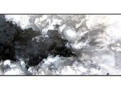Large 24 x 48 inch Black and White Modern Abstract Painting on Canvas. Large Wall Art. Acrylic Original Painting. Fluid Abstract Art.