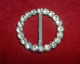 Vintage Rhinestone Ladies Buckle Circle Round Belt Buckle