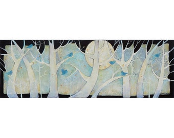 MOON OF AWAKENING, Painting on Canvas, Original Art , nature theme, trees, 10 x 30 inches,home decor