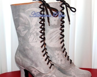 Victorian Boots Stage shoes Costume shoes Ankle Lace up off White worn Boots