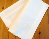 Set of 3 Ivory Color Fine Cotton Mens Handkerchiefs with Monogram Style No. 5