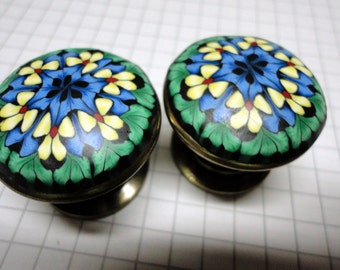 Cabinet Knobs 6 yellow blue green Handmade PolymerClay on Metal knob Decorative Unique dresser drawer knobs night table chest of drawers