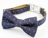 Bow Tie Dog Collar - Denim Polka Dot