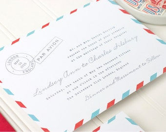 Air Mail Wedding Invitation - Vintage Letterpress Invitation - Destination Letterpress, Foil Stamp, Flat Printing - Par Avion - DEPOSIT