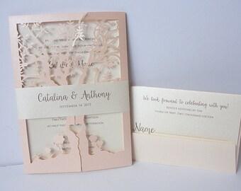 Fall Wedding Invitation, Laser Cut Tree Invitation, Tree Wedding Invite, Rustic Wedding Invitation, Autumn Wedding TREE - 1 CORAL BLUSH
