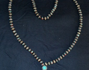 Prayer Mala From Nepal, Black Beads With Turquoise
