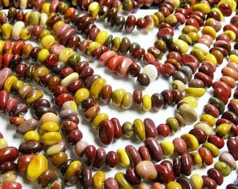 Mookaite - bead - full strand - pebble - chip stone - Mookaite jasper - PSC91