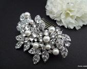 Bridal Swarovski Crystal Pearl Wedding Comb,Wedding Hair Accessories,Vintage Style Pearl Leaf Rhinestone Bridal Hair Comb,Rhinestone,CALI