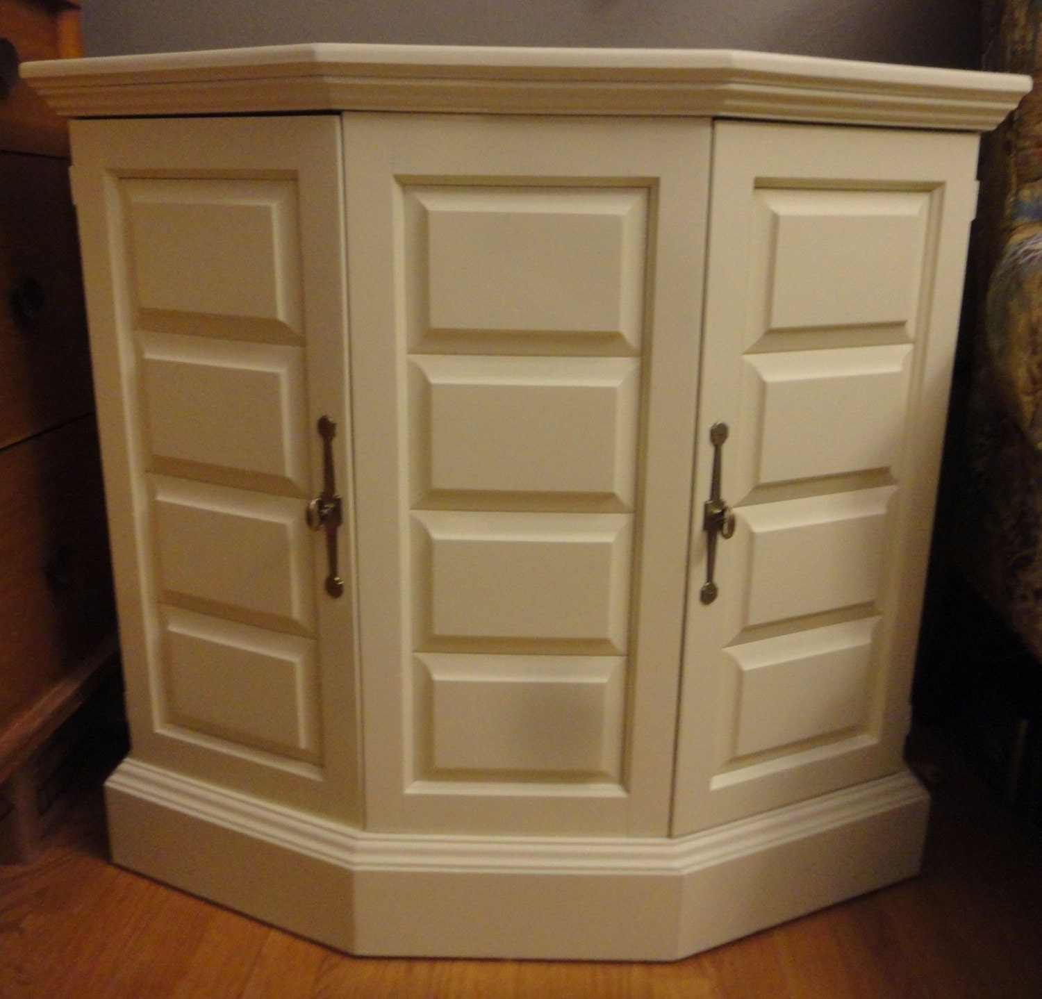 Foyer Console Cabinet : Door hallway console cabinet stand painted in antique white