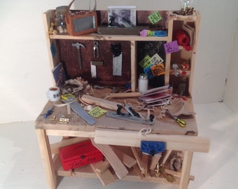 Dolls House Miniatures - 1/12th Woodworkers / Carpenters Bench -