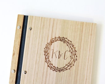 Wedding Guestbook. Wood Album. Custom Wedding Gift. Engagement Gift. Bridal Shower | modern wreath