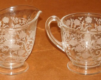 Vintage 1940's 1950's Clear Glass Sugar Bowl & Creamer Raised Relief Floral Design Serving Pieces Creamer Open Sugar Bowl Set Ornate
