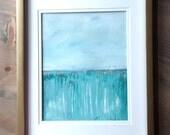 Original Acrylic painting   Abstract  Fine Art Modern Contemporary Art   mint green blue gold white