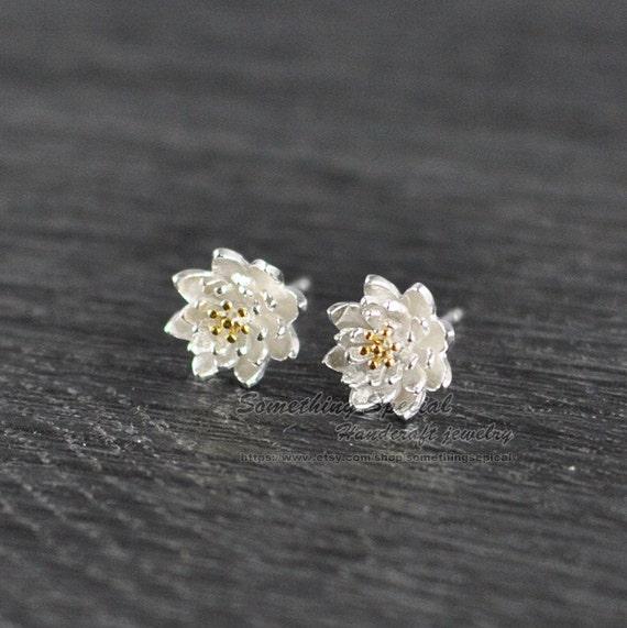 flower earrings sterling silver lotus stud by somethingsepical
