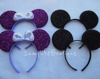 Lot of 4 Mickey & Minnie Mouse Ears Black and Purple Bow Shimmer Headband Sequin Birthday