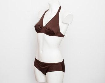 NOS Vintage bikini Size S chocolate brown 70s