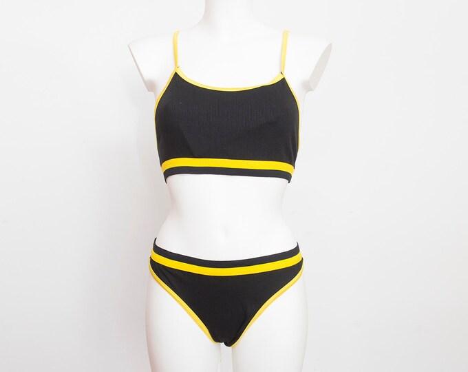 90s bikini NOS Vintage black yellow