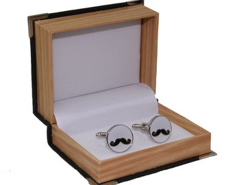Men's Mustache Cufflinks and Gift Box ~ Novelty Accessory Cuff Links