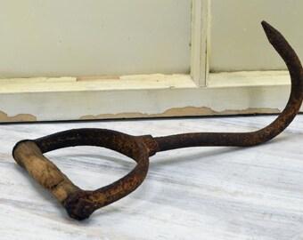 Rustic Hay Hook - farm tool - Old Barn Hook - primitive hay hook