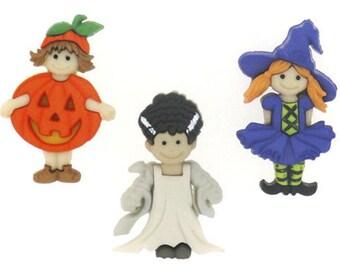Jesse James Buttons Ghoulies & Ghosties Little Girls Costumes  Halloween Button Embellishments Halloween